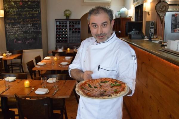 Chef Maurizio Crescenzo with pizza