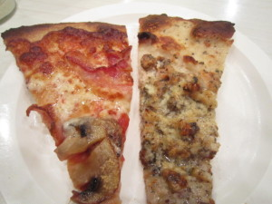 Slice of Bacon Pizza and a slice of clam