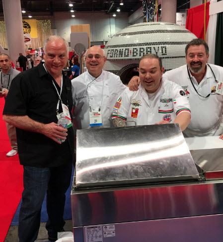 Mark Dym, Peter Reinhart, Chef Leo Spizzirri and Jonathan Goldsmith at Pizza Expo